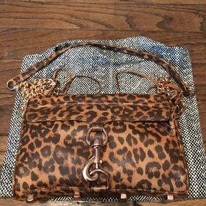 Rebecca Minkoff mini Mac leopard rose gold bag